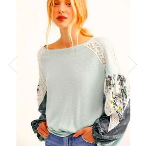 Free People Casual Clash Top thermal mint Large